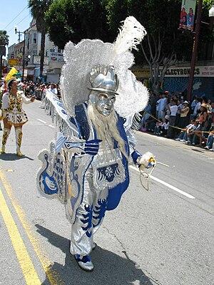 Morenada - Morenada dancer during a festival in San Francisco in the United States wearing a barrel-like costume.