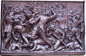 Battle of Long Sault - A monument in Montreal featuring an engraving of the battle.
