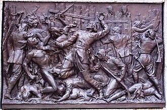 Adam Dollard des Ormeaux - Maisonneuve Monument: Dollard des Ormeaux in the Battle of Long Sault