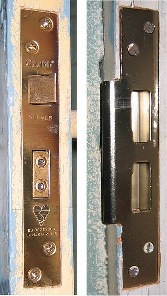 Mortise lock - The two main parts of a mortise lock. Left: the lock body, installed in the thickness of a door. This one has two bolts: a sprung latch at the top, and a locking bolt at the bottom. Right: the box keep, installed in the doorjamb.