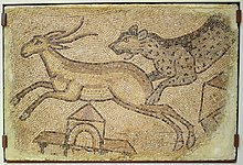 Mosaic of Leopard Chasing a Gazelle, Roman, Homs, Syria, 450-462 AD, polychrome marble tesserae - Chazen Museum of Art - DSC01919.JPG