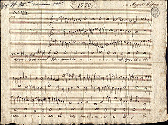"Accademia Filarmonica di Bologna - Antiphon ""Quaerite primum regnum Dei"" Examination exercise of Padre Martini's pupil 14-year-old Mozart, 9 October 1770, Bologna"