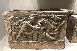 Urne funéraire étrusque de Chiusi :le combat d'Etéocle et Polynice