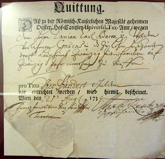 History of the Jews in Laupheim - Receipt for payment of 400 fl by Damian Carl von Welden to the Imperial Revenue