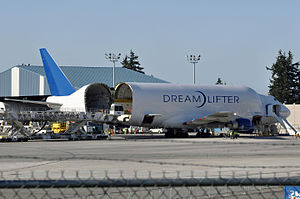 Boeing Dreamlifter - Boeing 747 LCF, N780BA with its swing-tail cargo bay access open at Paine Field, location of the Boeing Everett Factory in 2015