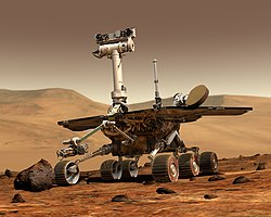 "An artist's rendering of a Mars Exploration Rover as seen on the ""Big Red"" planet."