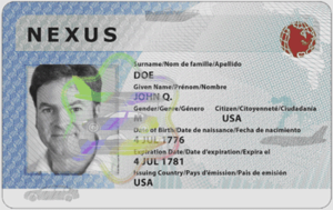 NEXUS (frequent traveler program) - Sample NEXUS card
