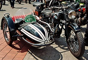 Sidecar - An NSU 601 motorcycle from the 1930s fitted with a Steib sidecar.