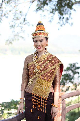Suea pat - Miss Songkran in Luang Prabang, Laos wearing a suea pat underneath a pha biang