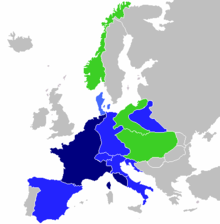 Map of Europe. French Empire shown as slightly bigger than present day France as it included parts of present-day Netherlands and Italy.
