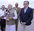 Narendra Modi giving statement to media, after reviewing the situation of flood affected areas, in Jammu and Kashmir. The Governor of Jammu and Kashmir, Shri N.N. Vohra, the Chief Minister of Jammu and Kashmir.jpg