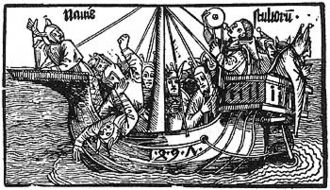Ahoy (greeting) - Albrecht Dürer's Narrenschiff (Ship of Fools) (1495). In carnival parades the crew of a ship of fools greets the audience with ahoy!