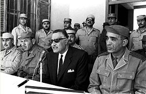Mohamed Fawzi (general) - Fawzi (second from left) with President Gamal Abdel Nasser (second from right) and Chief of Staff Abdul Munim Riad (seated first from right) at Suez Canal front during the War of Attrition with Israel, February 1968