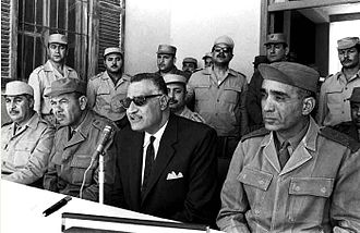 Abdul Munim Riad - Riad (seated first from right) alongside President Gamal Abdel Nasser (second from right) and General Commander Mohamed Fawzi (third from right) at Suez Canal front during the War of Attrition with Israel, February 1968