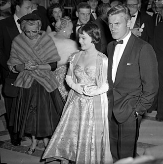 Tab Hunter - Hunter with Natalie Wood at the 28th Academy Awards in 1956