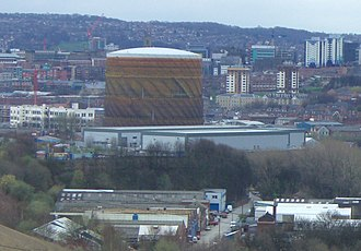Neepsend - The Neepsend gas holder dominates the district and is a prominent landmark across Sheffield.