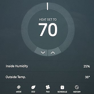 Smart thermostat - The Nest Web Portal allows users to remotely change the temperature, create a schedule, and view past energy usage.