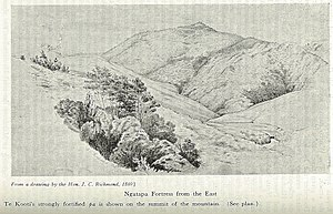 Te Kooti's War - Ngatapa pā, on the summit of the hill, scene of the four-day siege in January 1869