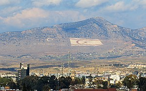 Kyrenia Mountains - The flag of Northern Cyprus on the mountainside