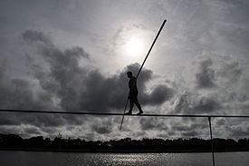Nik Wallenda Trains for June 23, 2013 Grand Canyon Walk at Nathan Benderson Park, Sarasota, Fla., June 7, 2013.jpg