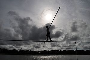 Skywire Live - Image: Nik Wallenda Trains for June 23, 2013 Grand Canyon Walk at Nathan Benderson Park, Sarasota, Fla., June 7, 2013