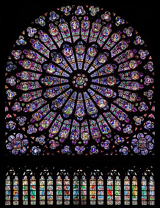 Notre-Dame de Paris - The north rose window is a fine example of Gothic Rayonnant style.