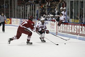 College ice hockey - The Northeastern Huskies, a Hockey East member team, take on the UMass Minutemen at Matthews Arena in Boston, Massachusetts
