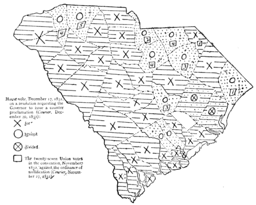 Nullification Controversy in South Carolina - Map VII.—House vote on governor's counter-proclamation, and Union vote in Convention, 1832.png