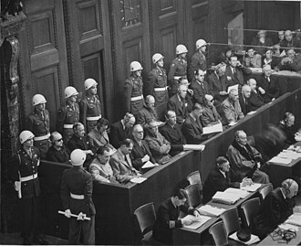 Defendants at the Nuremberg trials, where the Allied forces prosecuted prominent members of the political, military, judicial and economic leadership of Nazi Germany for crimes against humanity Ww2 170.jpg