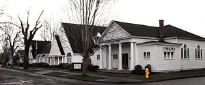 Woodburn, Oregon - Corner of 2nd and Garfield. Willamette Ballet Academy and Cornwell colonial chapel
