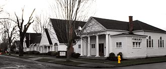 Woodburn, Oregon - Corner of 2nd and Garfield. Willamette Ballet Academy and Cornwell colonial chapel.