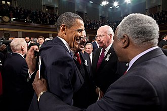 2011 State of the Union Address - Obama greets members of Congress after the address.