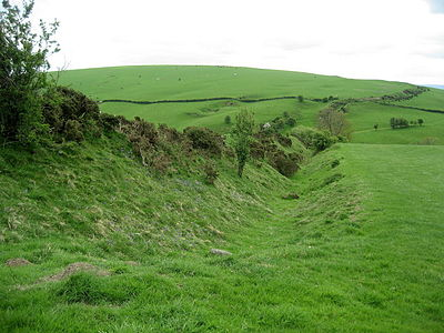 Section of Offa's Dyke near the Shropshire town of Clun, constructed after the Saxon annexation of the area in the 8th century AD. Offa's Dyke near Clun.jpg
