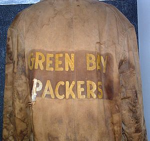 History of the Green Bay Packers - An old Green Bay Packers jacket on exhibit in the Pro Football Hall of Fame.