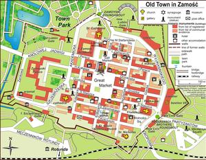 Old City (Zamość) - Map of the Old City of Zamość