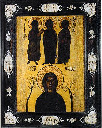 Olivia of Palermo - Olivia with the saints Elias, Venera and Rosalia, 13th century.