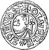 Sølvmønt karakteriseret af Olof i Sigtuna med kongens stiliserede billede på