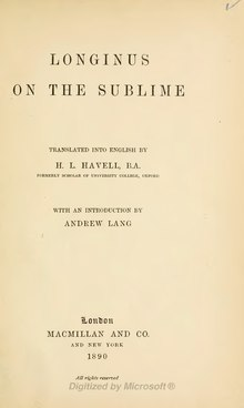 On the Sublime 1890.djvu