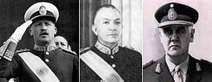 "Argentine Revolution - Generals Juan Carlos Onganía, Marcelo Levingston and Alejandro Lanusse, the three successive dictators of the ""Revolución Argentina""."