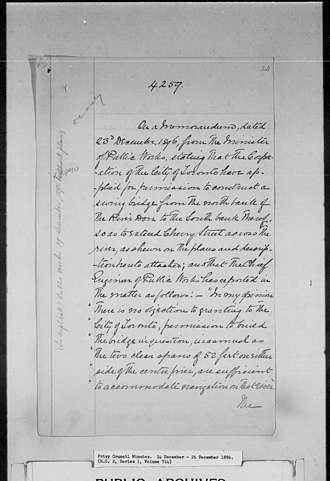 Keating Channel - Image: Order in Council authorizing the Cherry Street Swing Bridge