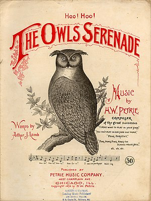 "Henry W. Petrie - ""The Owls Serenade"" with music by H. W. Petrie, 1894 sheet music cover"