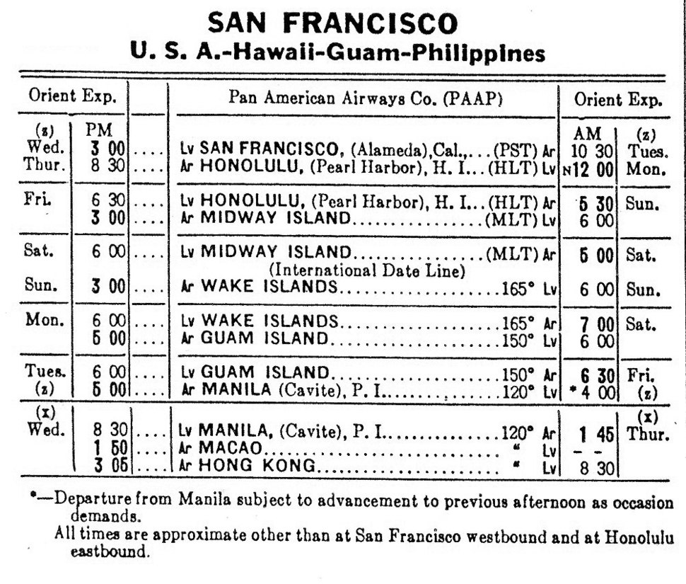 PAA San Francisco - Manila - Hong Kong Clipper Schedule