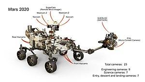 Mars 2020 - Mars 2020 rover – 23 cameras (October 31, 2017).