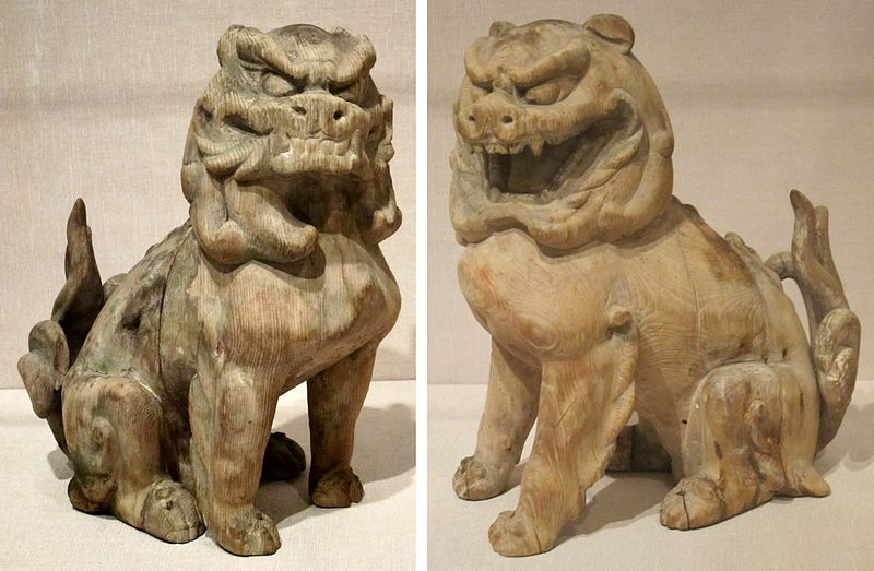 File:Pair of guardian lions, Japan, Kamakura period, wood with traces of pigment, HAA.JPG