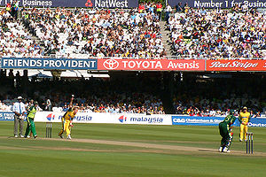 Pakistan national cricket team - Pakistani opener Yasir Hameed playing against Australia at Lord's in England.