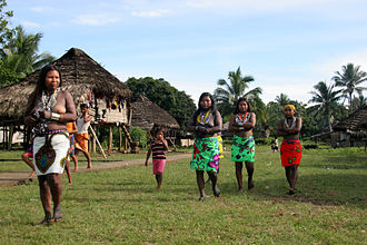 Embera-Wounaan - Embera dance in front of houses, 2006