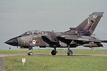 A Panavia Tornado GR1 of No. 45 Squadron otherwise known as the Tornado Weapons Conversion Unit.