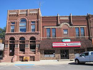 Parkersburg, Iowa - Exchange Bank and pharmacy buildings, Parkersburg.