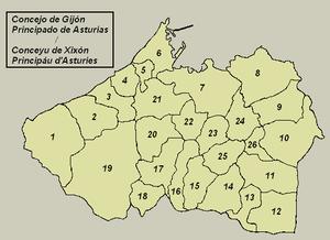 Parroquies de Xixón numberaes