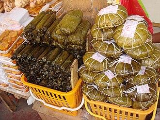 Pasalubong - Regional delicacies sold as pasalubong in Tacloban City. Left to right: moron, sagmani, and binagol.